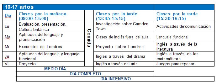 Programa para niños de 10 a 17 años