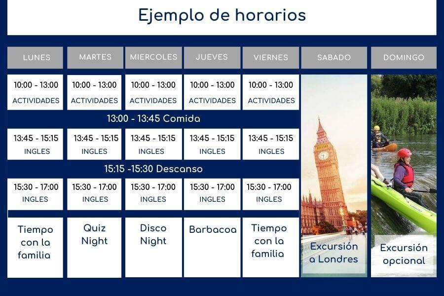 Ejemplo de Programa Campamento Inglés en Oxford